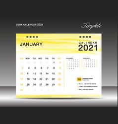 Yellow desk calender 2021 january template vector