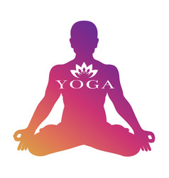 Yoga logo design meditation male vector