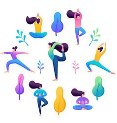 Young girl doing yoga harmony body and soul vector