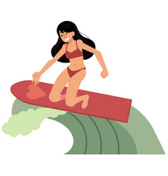 young girl surfing in sea - summer beach vacation vector image