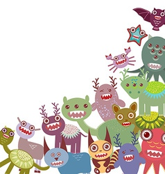 Funny monsters Big collection on white background vector image