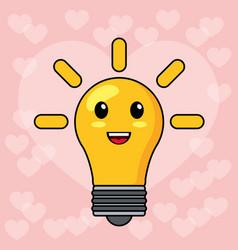 Kawaii bulb light smile vector
