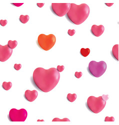 realistic glossy hearts seamless pattern vector image vector image