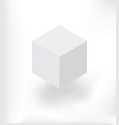 white isometric cube with shadow vector image