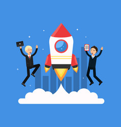 concept picture with symbols of startup rocket vector image