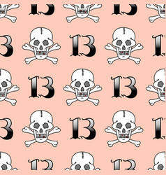grunge seamless pattern with skulls vector image