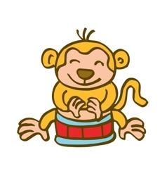 Monkey playing drum cartoon vector image