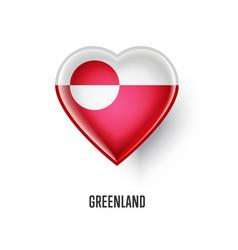 patriotic heart symbol with greenland flag vector image vector image