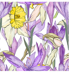Seamless season pattern with blue crocuses and vector