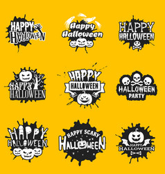 set of happy halloween black stickers on yellow vector image