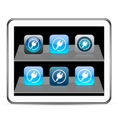 Power plug blue app icons vector image vector image