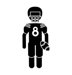 silhouette american football player with helmet vector image