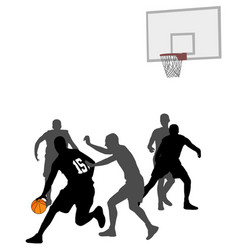 basketball game silhouettes vector image