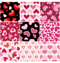 seamless heart fabric pattern set vector image vector image