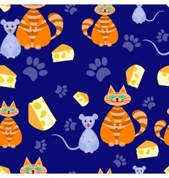 seamless pattern cat and mice vector image vector image