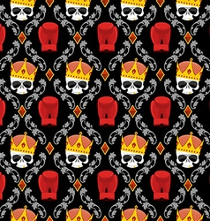 Skull Crown and boxing gloves with Baroque vector image vector image