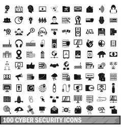 100 cyber security icons set simple style vector
