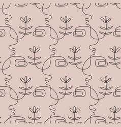 Abstract female faces group seamless pattern vector