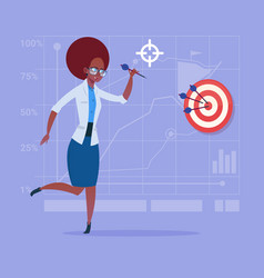 african american business woman hold arrow hit vector image