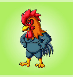 Angry rooster mascot logo design vector