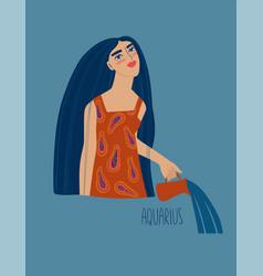 Aquarius zodiac sign with girl vector
