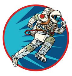 Astronaut runs forward round logo symbol icon vector