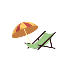 beach lounge and umbrella isolated on white vector image