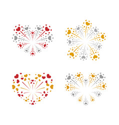 beautiful heart-fireworks set gold red romantic vector image