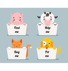 beggar animals help cat dog pig cow cartoon flat vector image