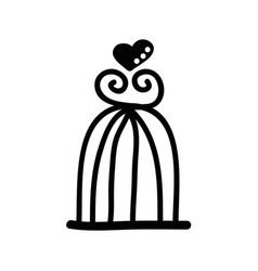 bird cage drawing isolated icon vector image