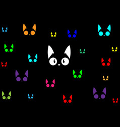black cats colorful in the dark background vector image