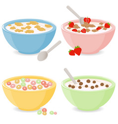 Bowls breakfast cereal vector