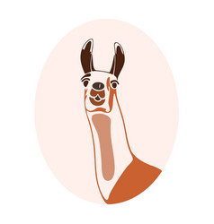 Brown llama in a pink oval vector