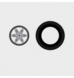 Car wheel and tire track vector