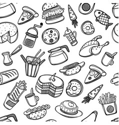 cartoon cute food and kitchenware on white vector image