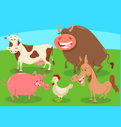 cartoon farm animal characters group vector image
