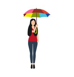 Cartoon woman with rainbow umbrella in a good mood vector