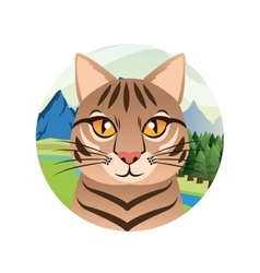Cat cartoon inside circle design vector