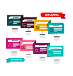 colorful paper labels set with icons data flow vector image