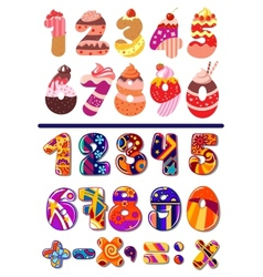 Colorful sets of numbers or digits vector image vector image