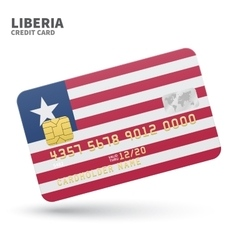 Credit card with liberia flag background for bank vector