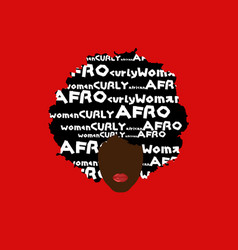 curly afro hair portrait african woman dark skin vector image