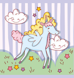 cute unicorn wings with clouds and stars vector image