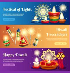 Diwali horizontal banners vector