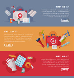 first aid kit landing page templates set box with vector image