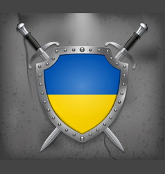 Flag of ukraine the shield with national flag vector