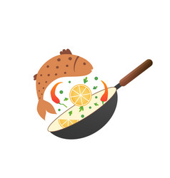 flipping fry fish with lemon and pepper in a pan vector image