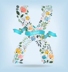 floral letter x with blue ribbon vector image