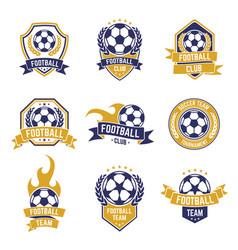 football team labels soccer ball club logo sport vector image