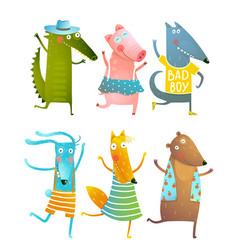 Funny baby dancing animals collection vector